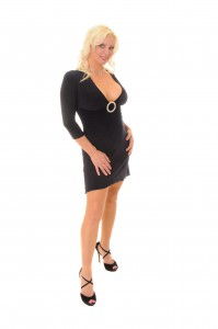 Sexy Black Dress with Veronica Vaughn inside it.